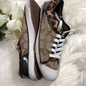 Coach sneakers with leopard print accent. 9B